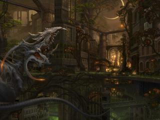 обои Мистическое существо в фантастическом городе фото