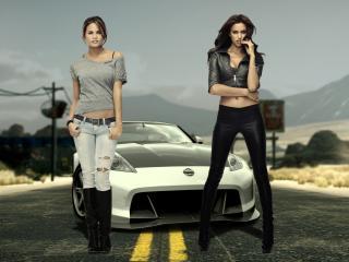 обои Две стройные девушки у ниссана фото