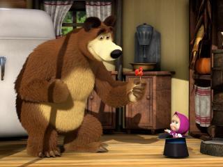 обои Маша в шляпе и медведь с леденцом фото