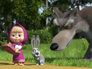обои Маша с телефоном,   трусливый заяц и большой волк фото