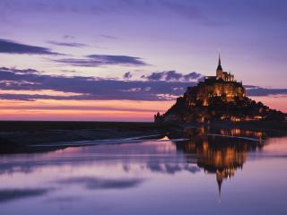 обои Замок на фоне заката фото