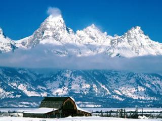 обои Снежные вершины в Вайоминге фото