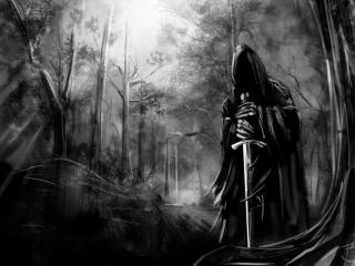 обои Назгул с мечем лесу фото