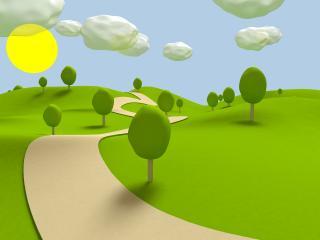 обои Трава и тропинка с деревьями,   солнышко и облака фото