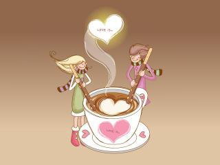 обои Чувства помешивают кофе фото