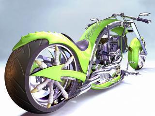 обои Зеленый мотоцыкл фото