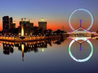 обои Обзорное колесо и город фото