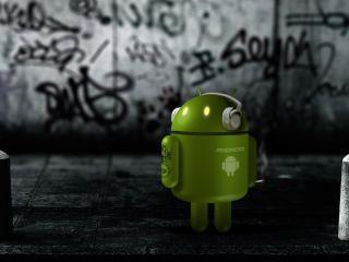обои Зелененький андроид и столбики фото