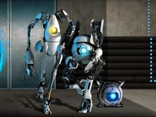 обои Portal 2,   команда роботов фото