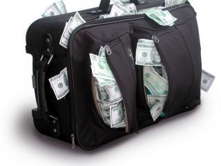 обои Деньги разорвали сумку фото