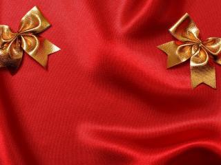 обои Праздничные бантики на красном фото
