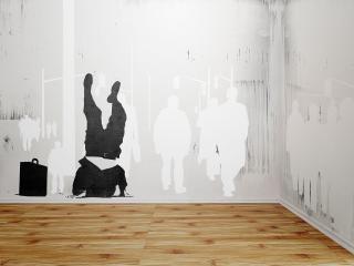 обои Трафарет,   граффити на стене фото
