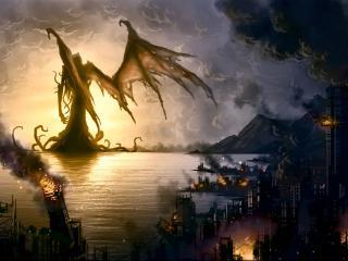 обои В фантастическом городе  пожар