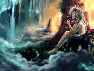 обои Девушка в скалистом и туманном мире фото