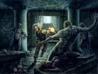 обои Мужчина с факелом в подземельи фото