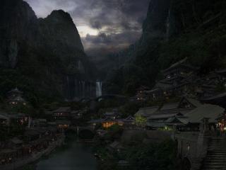 обои Огни в китайском городе фото
