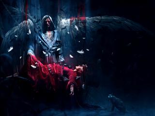 обои Окровавленный ангел и девушка фото