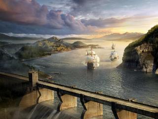 обои Парусники в заливе фото