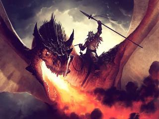 обои Наездник с копьем на огнедышащем драконе фото