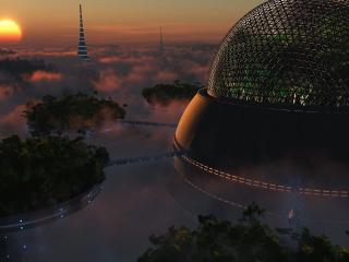 обои Озеленение города будущего фото