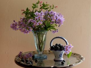 обои Натюрморт - Ягоды и цветы - натюрморт фото