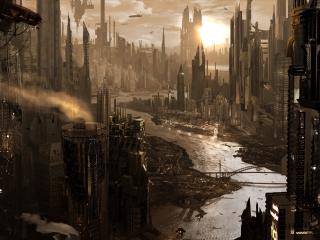 обои Небоскребы будущего города фото