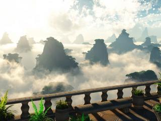 обои Облака и скалы,   вид из балкона фото
