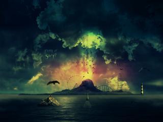 обои Остров на закате фото