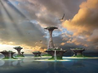 обои Острова с водопадами фото