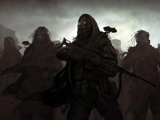 обои Отряд бойцов в тумане фото