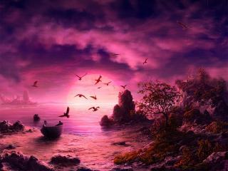 обои Розовый пейзаж фото