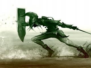 обои Рыцарь против врага со щитом и клинком фото