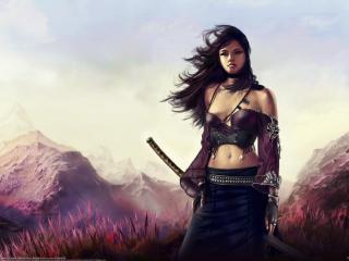 обои Симпатичная девушка с катаной в горах фото