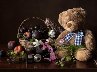 обои Мишка,   фрукты и цветы фото