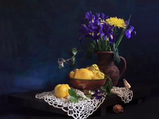 обои Натюрморт - Цветы,   груши,   крынка фото