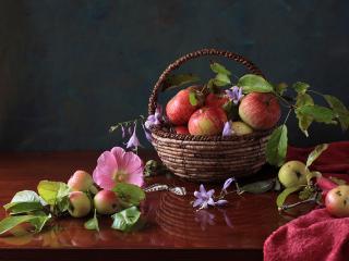обои Натюрморт - Яблоки и колокольчики в корзине фото