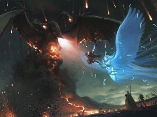 обои Фантастическое сражение с драконом фото