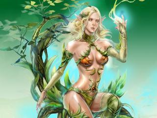 обои Светловолосая эльфийская девушка с магией фото
