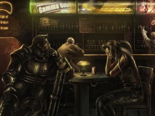 обои Рыцарь и девушка в баре фото