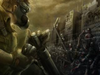 обои Солдат с обрезом в противогазе и зомби фото