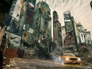 обои Такси и город после разрухи фото