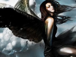 обои Темная и грустная девушка ангел фото