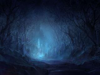 обои Темная тропа к загадочному замку фото