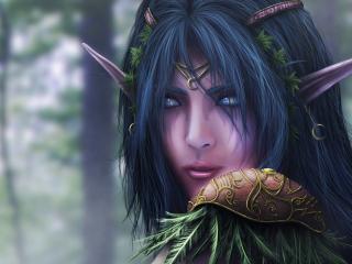 обои Фантастическая эльфийка в лесу фото