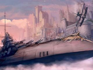 обои Фантастический корабль у замка фото
