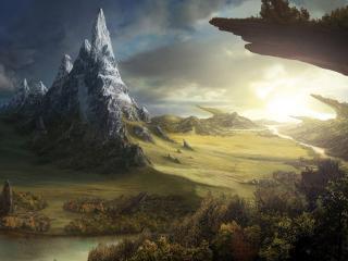 обои Фантастический пейзаж мира фото