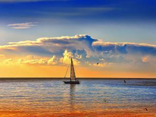 обои Парусная лодка,   море,   закат фото