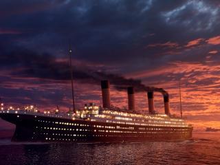обои Пассажирский пароход в море на закате фото