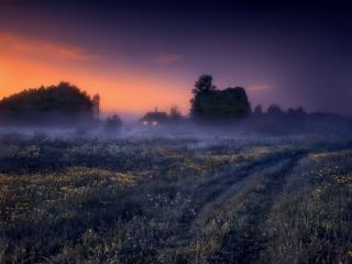 обои Вечерний туман,   дом и дорога фото