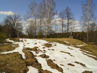 обои Последний снег на холме фото